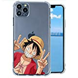 Anime One Piece iPhone 11 Pro Max Case,Japan Anime Cartoon One Piece Luffy Cute iPhone Case for Boys Men Girls,Cartoon Luffy Chopper Zoro Robin Nami Cool Anime Design Soft TPU Clear Case for iPhone