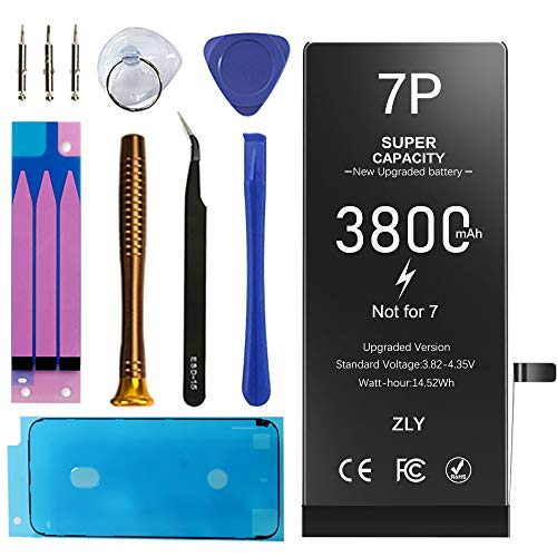 [3800mAh] Battery for iPhone 7 Plus, New 0 Cycle High Capacity Replacement Battery with Complete Repair Tool Kits & Adhesive Strips for iPhone 7 Plus A1661, A1784, A1785-12 Months Service