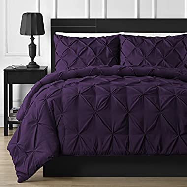 Double Needle Durable Stitching Comfy Bedding 3-piece Pinch Pleat Comforter Set All Season Pintuck Style (Queen, Plum)