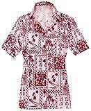 LA LEELA Cuello de la Camisa Blusas Novio Hawaiano Bebe Casual Manga Corta XL Blood Rojo