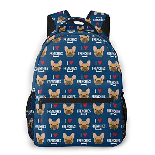 I Love French Bulldogs Frenchie Face Boys Girls School Computer Backpacks Book Bag Travel Hiking Camping Daypack