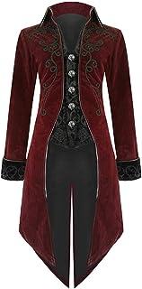 MRULIC Halloween Mäntel Herren Kapuze Jacke Gothic Gehrock Uniform Kostüm Party Oberbekleidung Vintage Punk Stil Frack Karneval Jacke