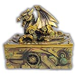 "WorldWideSlides Mythical Steampunk Dragon Trinket, Jewelry Box - 5"" - Fabulous Detail 6"