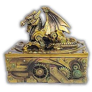 WorldWideSlides Mythical Steampunk Dragon Trinket, Jewelry Box – 5″ – Fabulous Detail