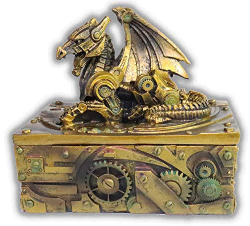 "WorldWideSlides Mythical Steampunk Dragon Trinket, Jewelry Box - 5"" - Fabulous Detail 3"