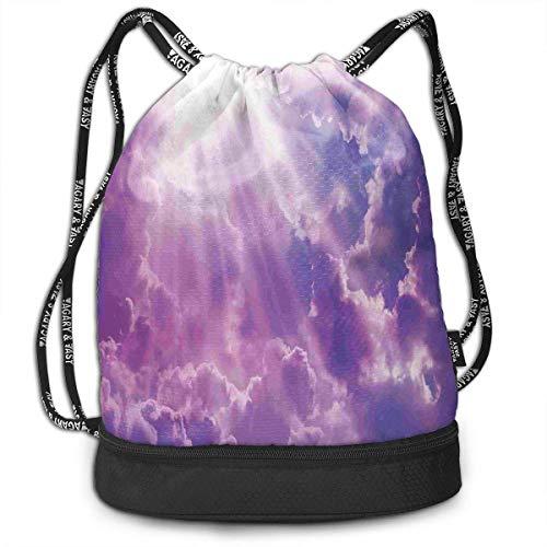 werert Dramatic Magical Sky Sun Fitness Drawstring Bag Gym Bag Sport Bag for Men Women