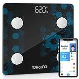 YOHOOLYO Pèse Personne Électronique Pèse Personne Balance Connecté Bluetooth Salle de Bains avec 14 Données Corporelles...
