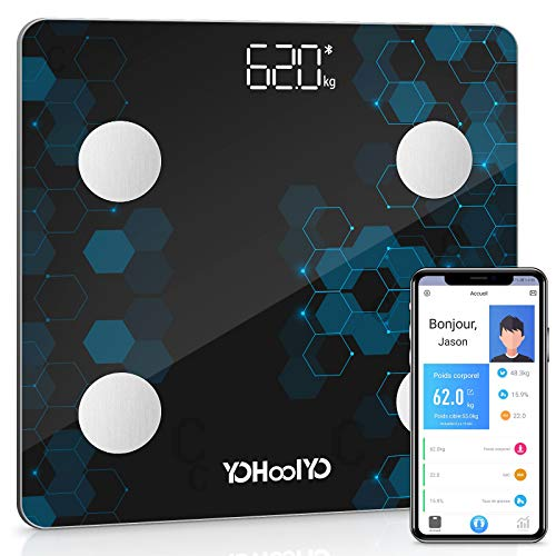 YOHOOLYO - Báscula de baño con 14 datos corporales con aplicación para smartphone Android e iOS