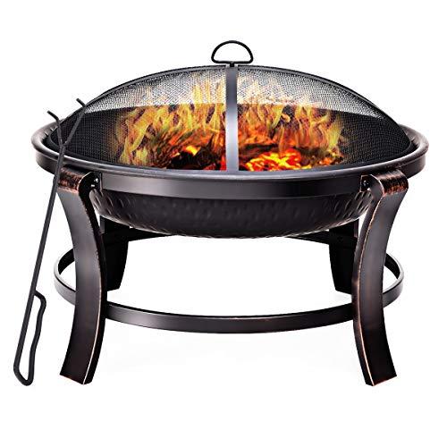 COSTWAY Feuerschale Grill, Feuerstelle Garten Terrasse Balkon, Feuerkorb mit Funkenschutz und Schürhaken Modellwahl (Modell 3)