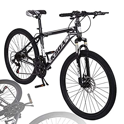 Mountain Bike for Men 26 Inch 21 Speed Outdoor Exercise Bicycle Road Bike Linear Pull Hand Brakes Front Suspension Non-Slip MTB Bikes (Black)