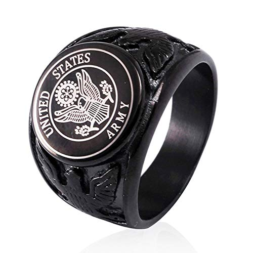 JAJAFOOK Vintage Titanium Steel US Military Army Ring Eagle Medal Rings for Men, Silver/Gold/Black