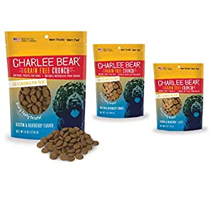 Charlee Bear Crunch Bacon & Blueberry Flavor Dog Treat and Snack (3 Pack) 8 oz Each