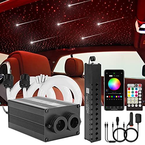 CHINLY Bluetooth Meteor 12W RGBW Twinkle LED Fibra óptica Star Kit de luces de techo APLICACIÓN / Control remoto 225 + 8 = 233PCS * 0.75MM * 3M para hogar / automóvil