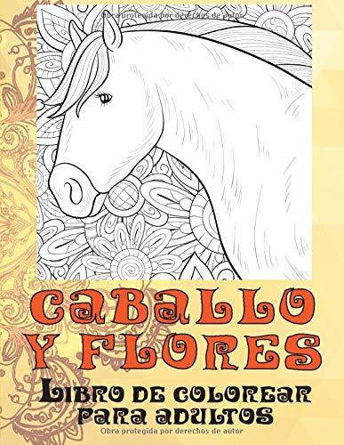 Caballo y flores - Libro de colorear para adultos