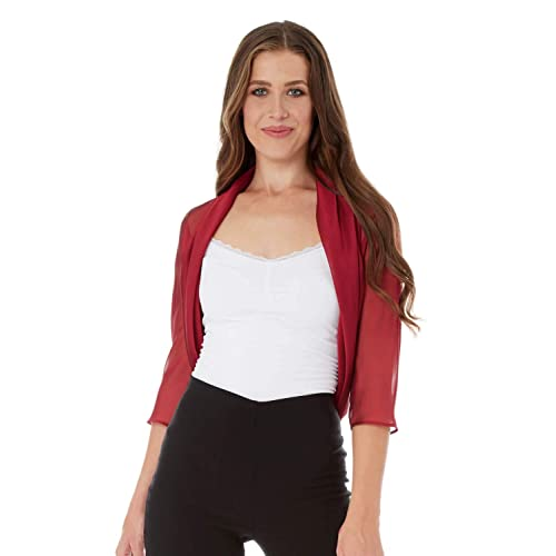 f342a7e89e3 Roman Originals Women Chiffon Bolero Jackets - Ladies 3 4 Sleeve Sheer Mesh  Shrug Cropped