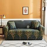 DWSM Funda de sofá extensible de 1 plazas, 2 plazas, 3 plazas, 4 plazas, funda para sofá de esquina, utilizada en el salón familiar, impresión floral (15,3 plazas, 190-230 cm)