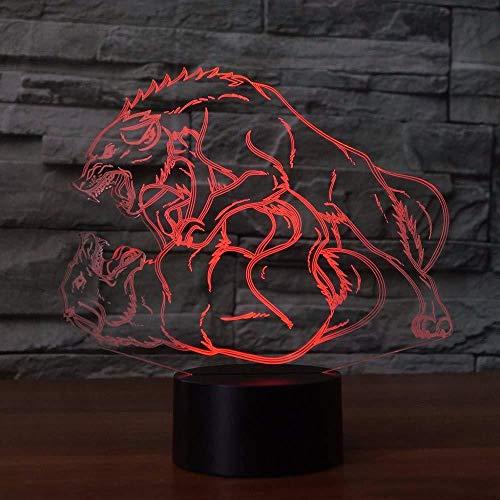 Lámpara de escritorio de modelado de lucha de lobo 3D, Lampara, luz de noche de animales, decoración de cabecera LED USB, 7 colores, cambio, regalo de iluminación para dormir
