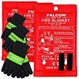 Falcon Medi-Tac [3-Pack] Fire Blanket Size X-Large 47''x47'' Fire Suppression Emergency Blanket w/ Heat Resistant Gloves w/ Reflective Strap for Kitchen, Camping, Grilling
