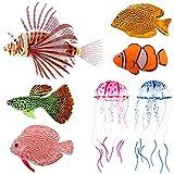 Medusas flotantes artificiales de plástico para decoración de peces, decoración de acuario, adorno flotante de simulación de medusas
