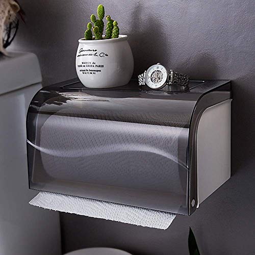 Suytan Bathroom Toilet Paper Holder Paper Dispenser, Wall Mount Roll Paper Towel Holder with Shelf Tray, Punch-Free Tissue Box Cover Holder Waterproof Storage Box Tray