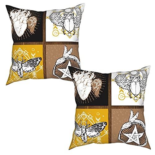 Paquete de 2 Fundas de Cojín Fundas de almohada,Auténtico tema secreto estampado de insectos natural y,cuadradas Cojín liso Decoración para el hogar Decoraciones para sofá Sofá Cama Silla (50x50cm)x2