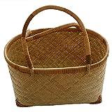 SSMDYLYM Cesta tejida de bambú y ratán, cesta de la compra, almacenamiento de comida gourmet, cesta de frutas para picnic al aire libre (Size : Large AND Small)