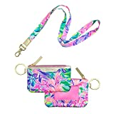 Lilly Pulitzer ID Case with Lanyard, Keychain Wallet with Zip Close, Cute Durable Card/Badge Holder with Long Lanyard for Women Teen Girls, It was All A Dream