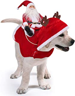 Idepet New Santa Dog Costume Pet Dogs Costume Coat for Halloween Cosplay,Novelty Pet Dogs Winter Hoodie Vest Clothes Chris...