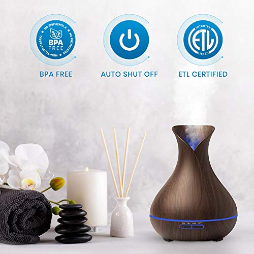 Everlasting Comfort Diffuser for Essential Oils (400ml) - Super High Aroma Output with Cleaning Kit, ETL Certified, Dark Wood