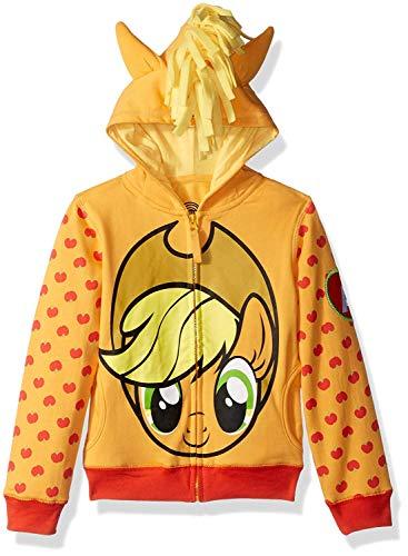 My Little Pony Girls' Little Apple Jack Costume Zip-up Hoodie, Orange/Yellow, 4