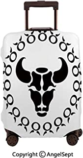 Travel Luggage Cover Spandex Suitcase,Horoscope Bull Form Birthday Legendary Symbolic Celestial Effects sy Graphic Black White,23.6x31.9inches,Protector Carry On Covers with Zipper
