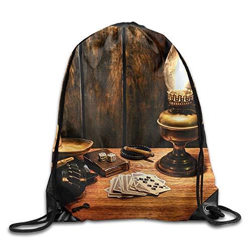 Mochila con cordón, Mochila Deportiva, Mochila de Viaje,Cowboy Unisex Home Gym Sack Bag Sport Drawstring Backpack Bag