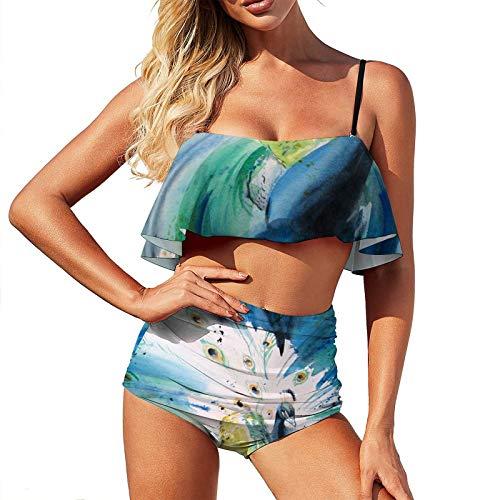 Bikini pavo real de color agua traje de baño para mujer, traje de baño de dos piezas, de natación de cintura alta con volantes y tiras halter