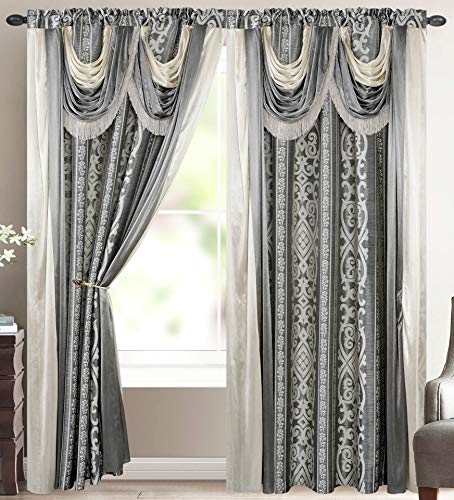 Elena Luxury Jacquard Curtain Panel with Attached Waterfall Valance & Scarf 54 by 84-Inch Grey