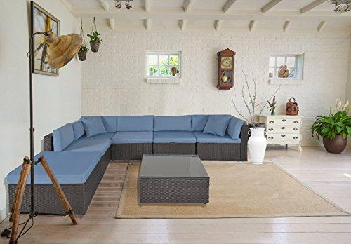 GOJOOASIS Outdoor Patio PE Wicker Rattan Sofa Sectional Furniture Conversation Set with Cushion and Pillow, Steel Frame, Black (7pcs Rattan Sofa Set)