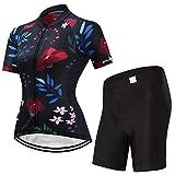 X-Labor Maillot de ciclismo para mujer de manga corta + pantalones cortos con acolchado para el asiento, diseño A XL