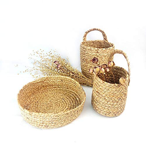 Great Features Of qsww Hand Made Wicker Straw Storage Basket 3 Piece Set Fruit and Vegetable Home Sh...