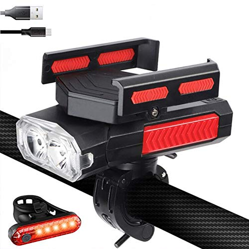 USB Rechargeable Bike Light Set with Phone Holder, 5IN1 Bike Light with Horn and Phone Charger,Waterproof Bicycle Headlight and Back Taillight, 6 Light Modes, Easy to Install for Road Mountain Cycling