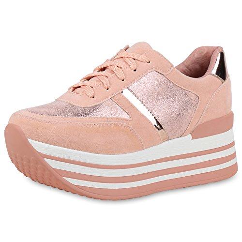 SCARPE VITA Damen Plateau Sneaker Lack Metallic Turnschuhe Freizeit Schnürer 154805 Rosa Metallic 40