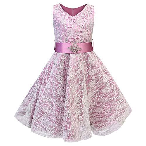 Live It Style It Mädchen V-Ausschnitt Spitze Hochzeit Party Brautjungfer Prinzessin Tanz Abiballkleid - Hot Pink, 9-10 Years