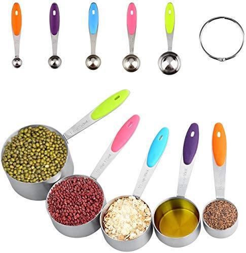 Uten Messlöffel Messbecher 10er-Set Professionelle Kochgeschirrwerkzeuge aus Edelstahl mit mehrfarbigen Silikongriffen zum Messen trockener und flüssiger Zutaten
