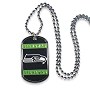 """Stainless Steel Tag Measures 2.25"""" in Length and 1.25"""" in Width 36-Inch Ball Chain Officially Licensed Design Raised Metal Team Logo Imaging"""