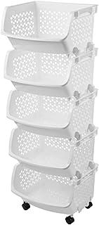 LKH Utilité De Cuisine sans Niveau 5 Niveau De Rangement en Plastique Arguineuse à étagères avec Panier Creux Empilable po...