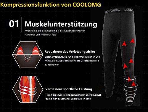 COOLOMG Herren Jugend Kompression Tights Laufhose Sporthose Lang Training Fußball Volleyball Schwarz S - 6
