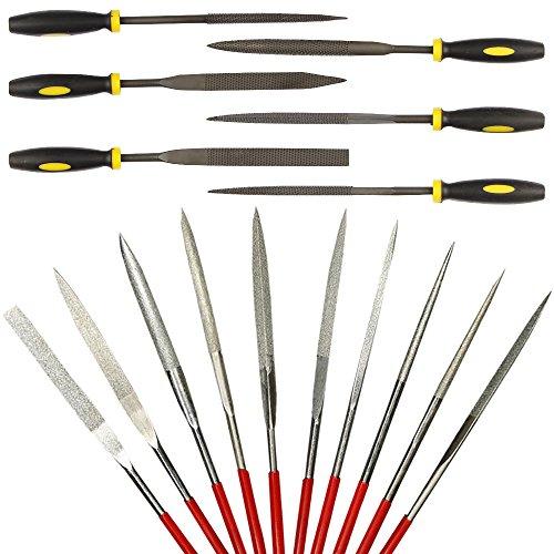 16-teiliges Nadelfeilen-Set, Legierung, gehärteter Stahl, Mini-Nadelfeilen-Set zum Formen von Diamant, Metall, Holz, Kunststoff, von Afunta