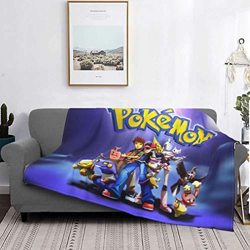 Anime Po-ke-mon Brock Dawn Pikachu Ash Ketchum Anti Pilling Soft Flannel Throw Blanket Microfiber Lightweight Fluffy Cozy Blanket for Couch Sofa Bed Blanket for All Season 80'x60'