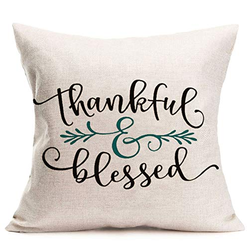 Fukeen Happy Thanksgiving Thankful Blessed Quote Throw Pillow Cases Rustic Farmhouse Decorative Pillow Covers Fall Leaves Cotton Linen Square 18x18 Inch Cushion Cover for Sofa Couch