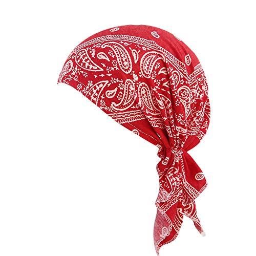 Viewk - Gorro con Volantes para Mujer, Color Rojo