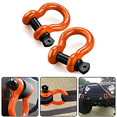 RUGCEL WINCH D Ring Shackles, 3/4 Inch, Black, 2 Pack – Heavy Duty Forged Steel with 4.75 Ton Capacity – Ideal for Jeeps, ATV's, Trucks