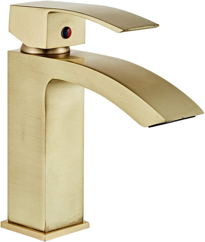 YHSGY Waschtischarmaturen Waschbecken Wasserhahn Messing Waschbecken Mischbatterie Bad Hot & Cold Wasserfall Wasserhahn Gebürstet Gold Einhand Deck Montiert Waschtischkran
